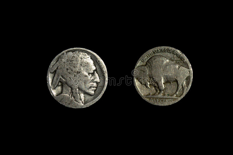 Indian Head or Buffalo Nickle stock photos