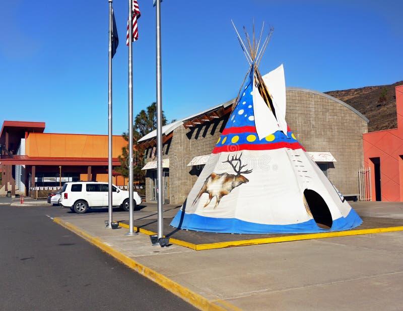 Indian Head Casino, Warm Springs, Oregon. Indian Head Casino entrance and tepee, Warm Springs, Oregon. United States stock image