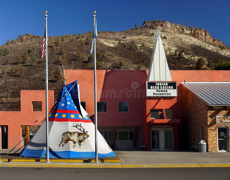 Indian Head Casino, Warm Springs, Oregon. Indian Head Casino entrance and tepee, Warm Springs, Oregon. United States royalty free stock image