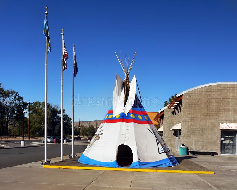 Indian Head Casino, Warm Springs, Oregon. Indian Head Casino entrance and tepee, Warm Springs, Oregon. United States royalty free stock photo