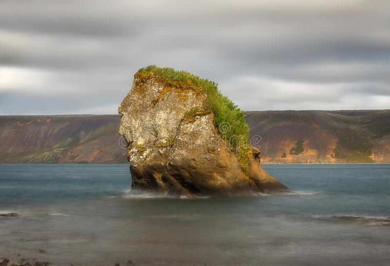 Rock formation at kleifarvatn Lake in Iceland royalty free stock image