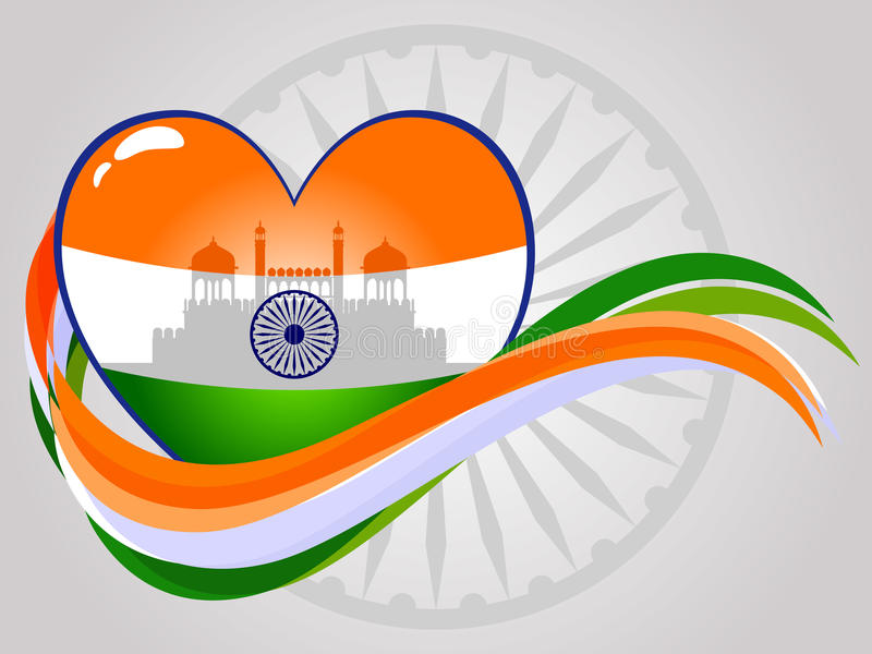 Indian heart with red-fort and waves.