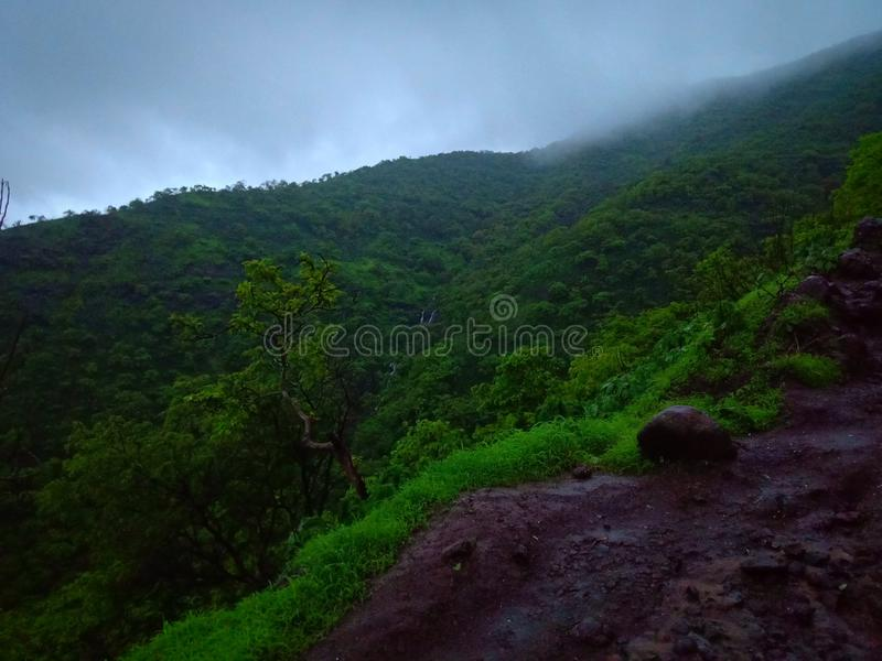 Indian hills in mansoon rain royalty free stock photography