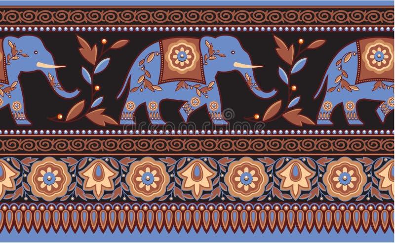 Indian - Hindu - Elephant Seamless Border stock illustration