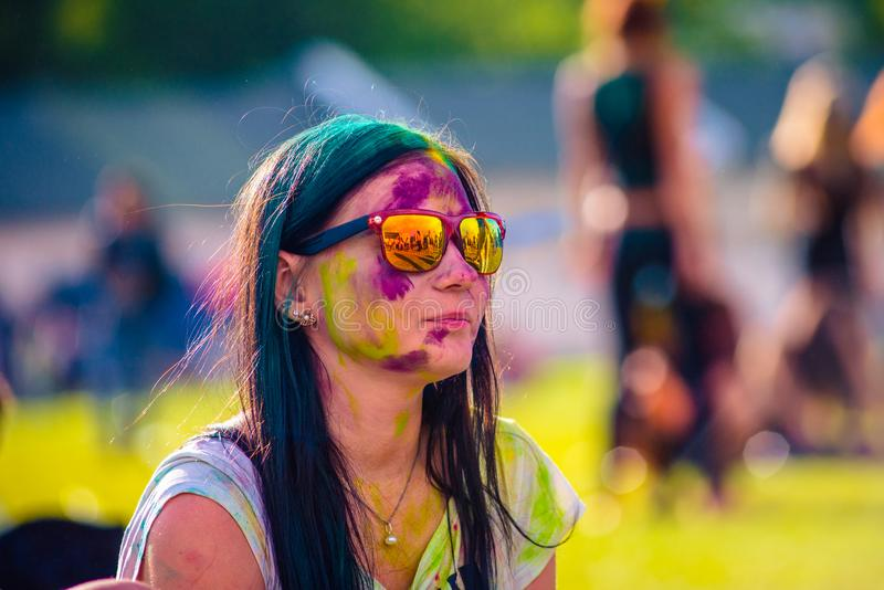 Woman portrait on holi festive royalty free stock images