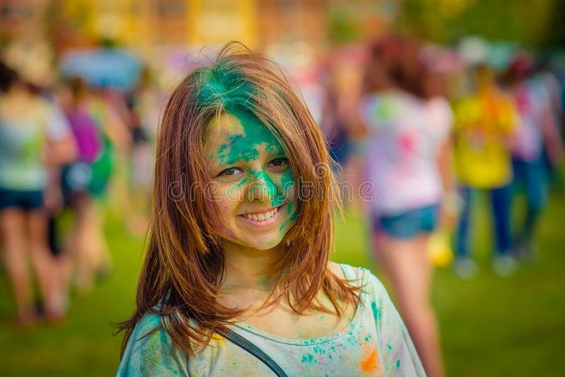 Woman portrait on holi festive stock photos