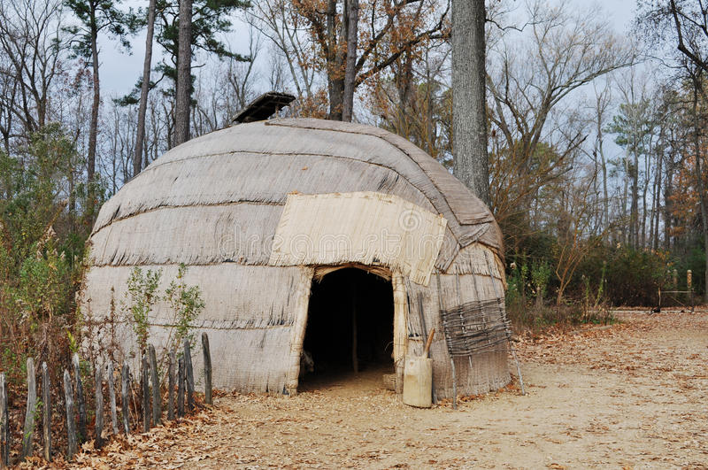 Indian Home. An image of an indian home at the Jamestown Settlement, Williamsburg Virginia stock image