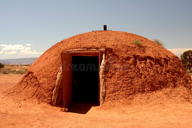 Indian hut at monument valley stock image