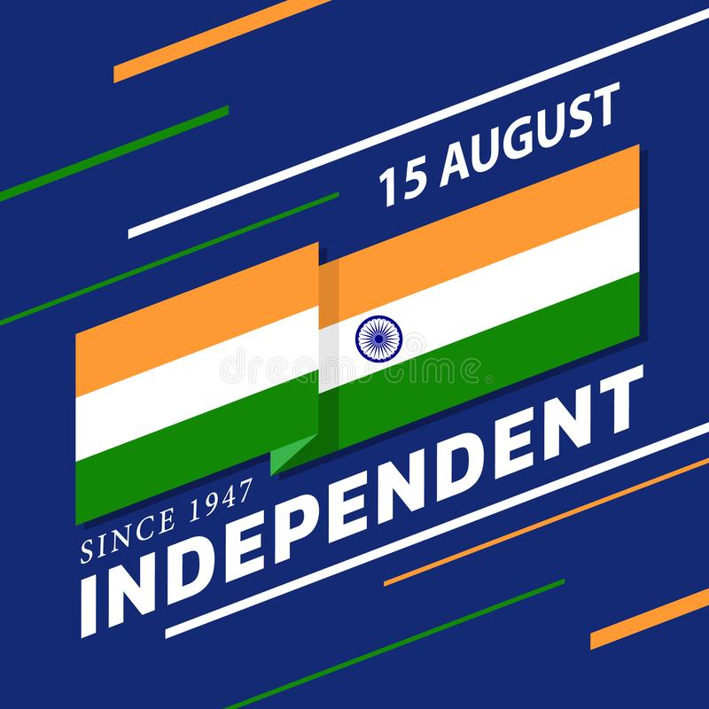 Indian Independence Day banner with india flag stripes Waving sharp corners and text on blue background vector design vector illustration