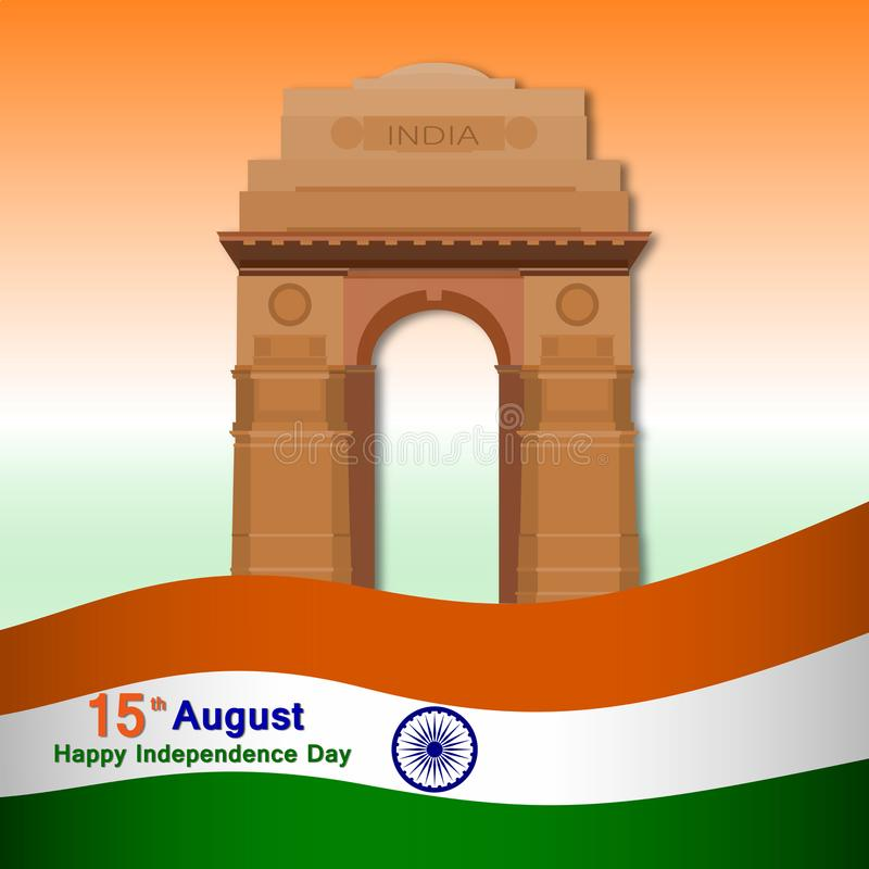 independence day of india greeting card with indian gate and flag vector illustration. royalty free illustration