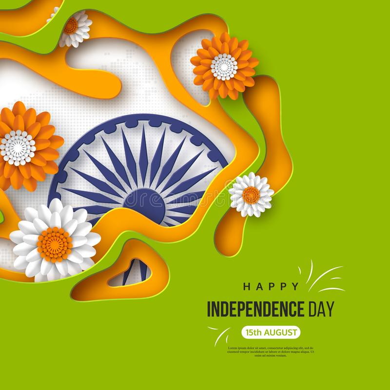 Indian Independence day holiday background. Paper cut shapes with shadow, flowers, 3d wheel in traditional tricolor of vector illustration