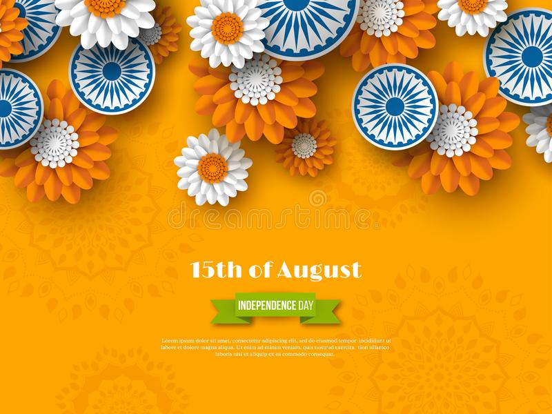 Indian Independence day holiday design. 3d wheels with flowers in traditional tricolor of indian flag. Paper cut style vector illustration