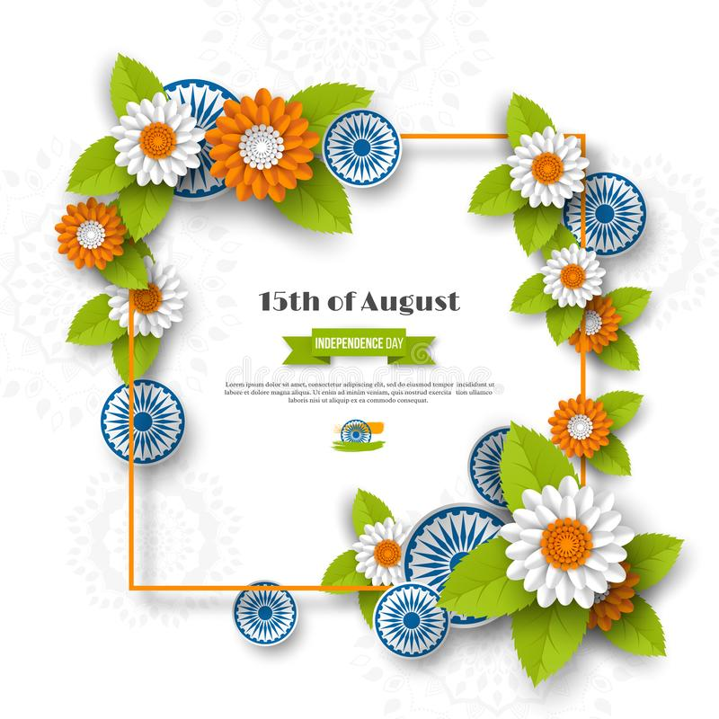 Indian Independence day holiday design. 3d wheels, frame and flowers with leaves in traditional tricolor of indian flag royalty free illustration