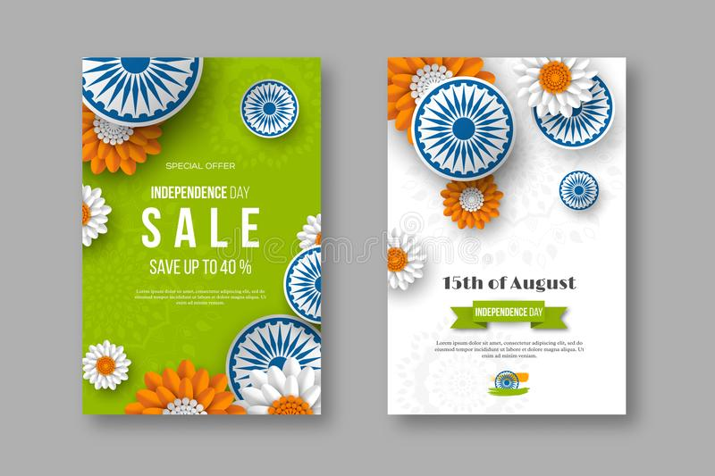 Indian Independence day sale posters. 3d wheels with flowers in traditional tricolor of indian flag. Paper cut style royalty free illustration
