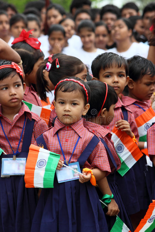 Indian Independence Day school celebration. Celebration of Indian Independence Day by Kendriya Vidyalaya or Central school students in uniform. Small children stock photos