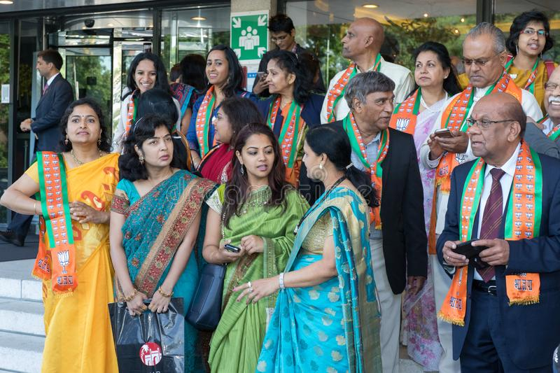 Indian india women fancy traditional dress colorfull visit prime minister modi stock image
