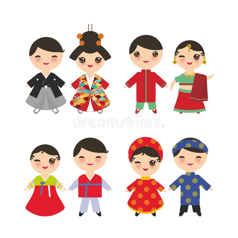Indian Japanese Koreans Vietnamese Kawaii boy and girl in national costume. Cartoon children in traditional dress isolated on. White background. Vector stock illustration