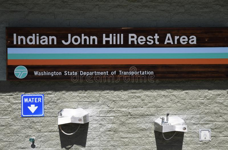 Indian Joh Hill rest area in Cle Elum washington usa. CLE ELUM/WASHINGTON/USA  22.April 2019/indian john Hill rest area deicated to traeler  and for auto and stock image