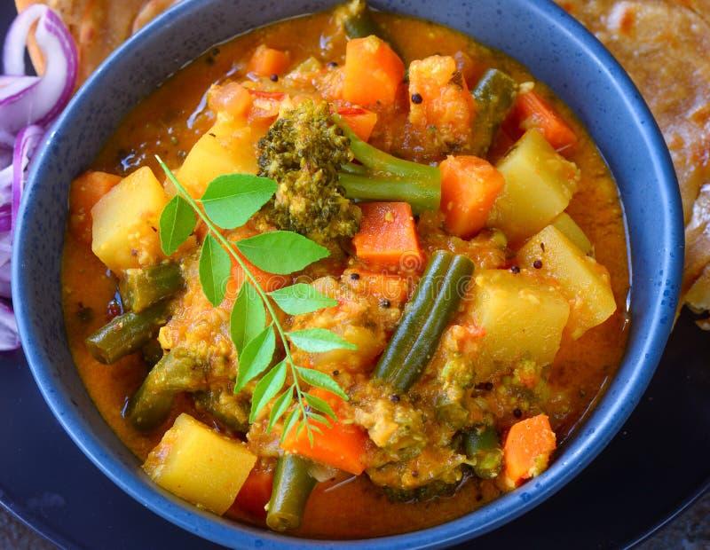 Indian Kerala meal-sambar kerala stew. Kerala lunch South Indian thaali sambhar stew and malabar parantha stock image