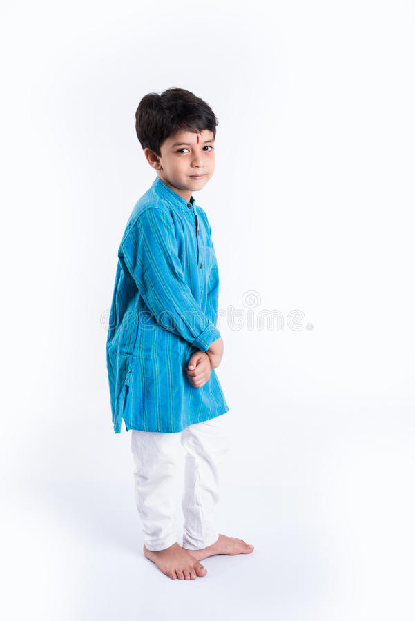 Indian kid in traditional wear stock photo
