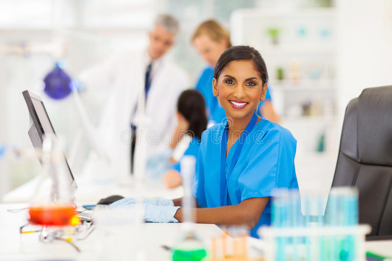Indian laboratory worker royalty free stock photo