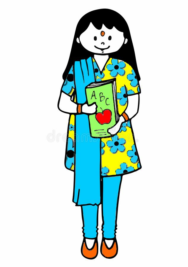 Indian lady school teacher with a book stock images