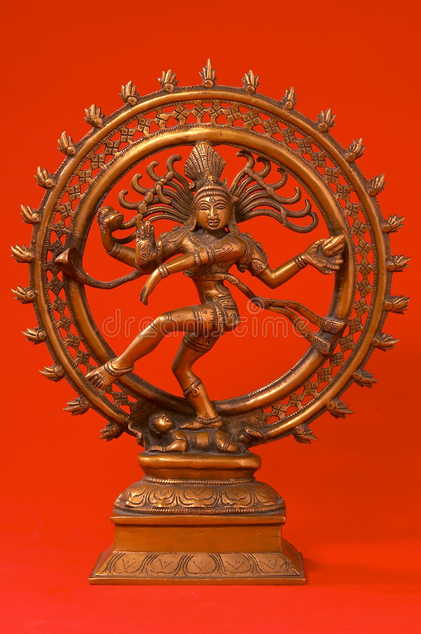Indian Lord of the Dance. On red stock photo