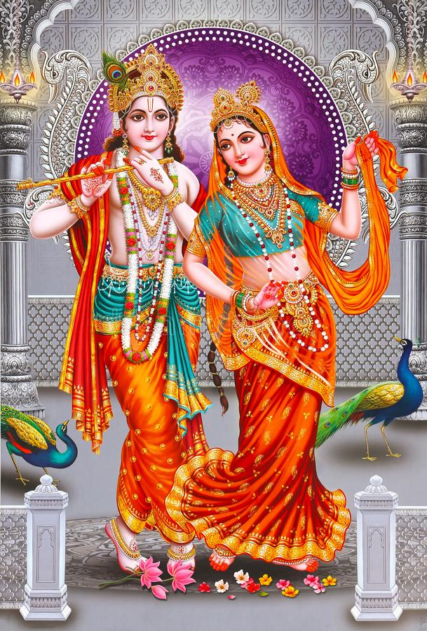 Lord Radha Krishna Beautiful wallpaper with background. Indian Lord Radhaji And Krishna Beautiful wallpaper with beautiful background royalty free stock images