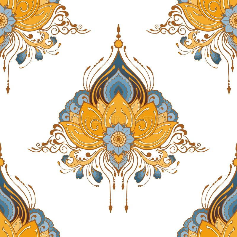 Indian lotus flower vector seamless-pattern mehndi henna tattoo style yoga meditation or zen decoration background stock illustration
