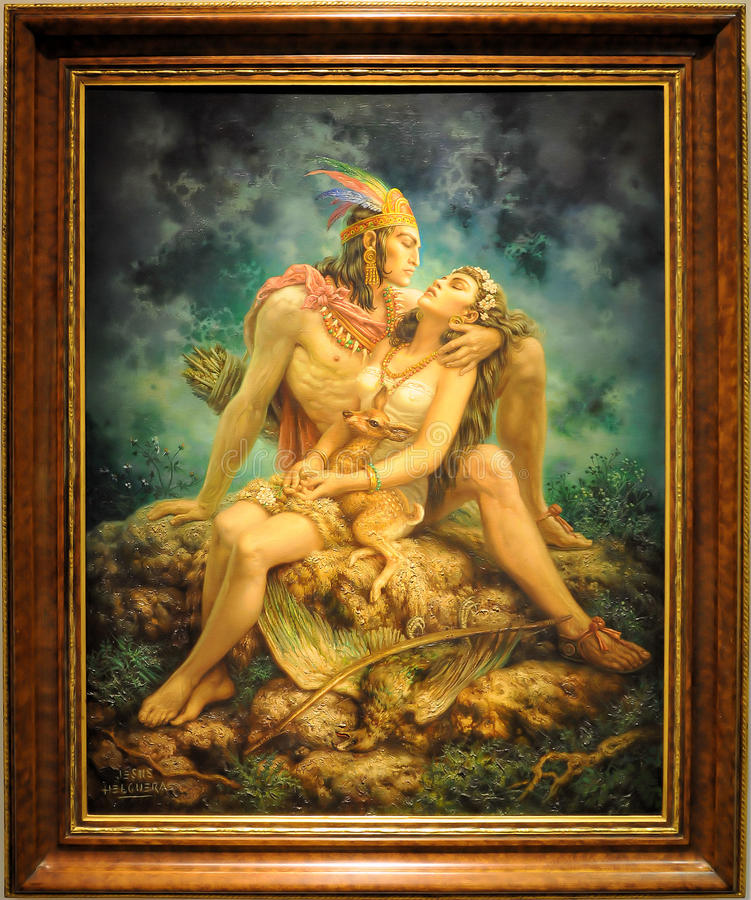 Indian Love. Painting by Jesus de la Helguera named: Indian Love. Picture taken at Soumaya Museum in Mexico City stock image
