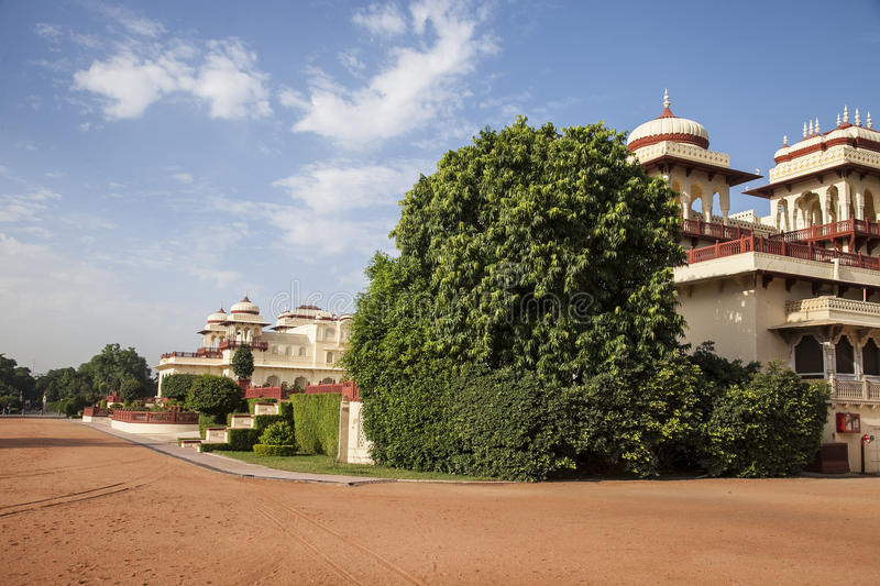 Indian luxury palace. With a beautiful garden stock photos