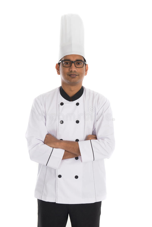 Indian male chef. In a white background stock image