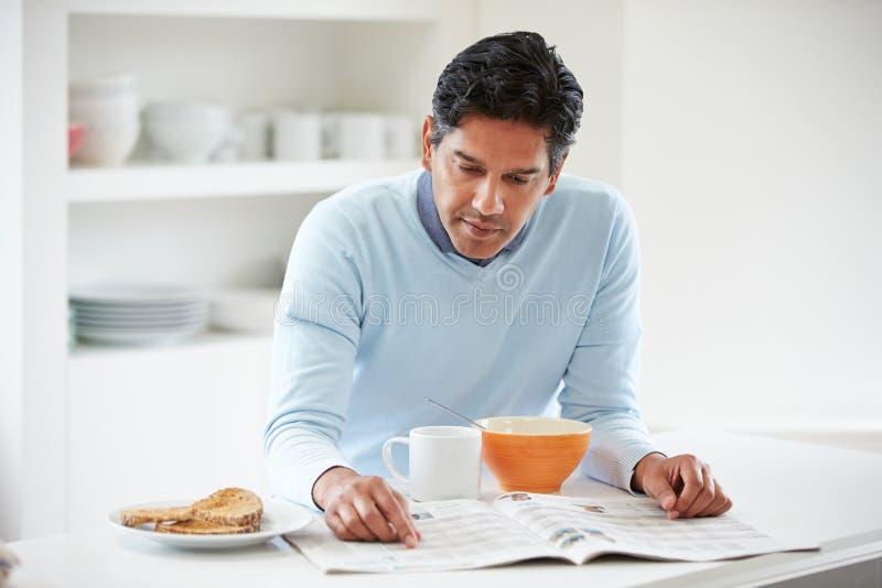 Indian Man Enjoying Breakfast At Home stock photos