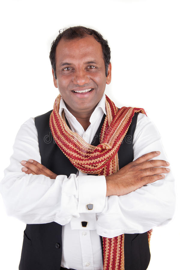 Indian man greets. Portrait of a Indian man that greets stock photos