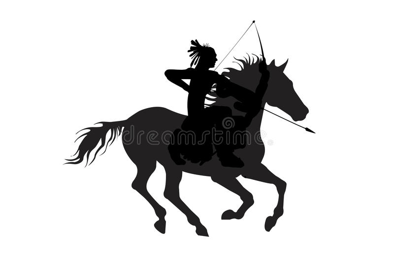 Download Indian Man On A Horse With Bow Isolate Stock Illustration - Illustration: 14260435
