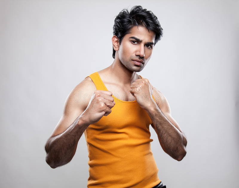 Indian man prepared to fight royalty free stock photos