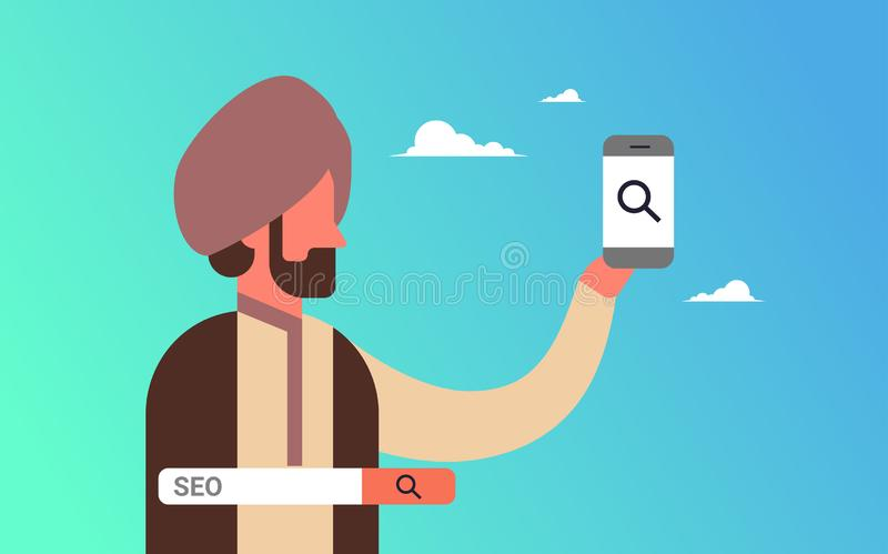 Indian man using smartphone seo search engine optimization internet searching concept indian businessman portrait flat. Horizontal vector illustration royalty free illustration