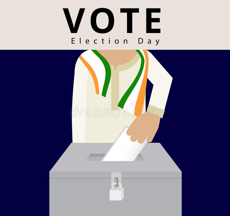 Indian man wearing scarves using hand drop the card into the locked ballots, eligible voter in general election day in India, poll. Ing box vector and stock illustration