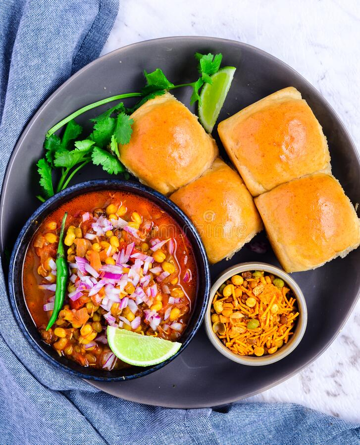 Indian marathi snacks - Misal Pav stock photo