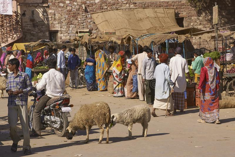 Indian Market in Nagaur, Rajasthan, India. Busy market outside main gateway to the historic fort in Nagaur, India royalty free stock images