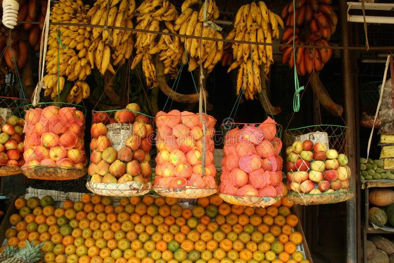 Indian market stall. Fruits at a market stall in South India stock images