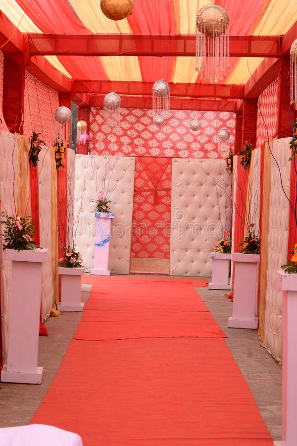 Indian Marriage Hall. A red carpet way to an Indian Marriage Ceremony Hall (Outdoor settings stock photo