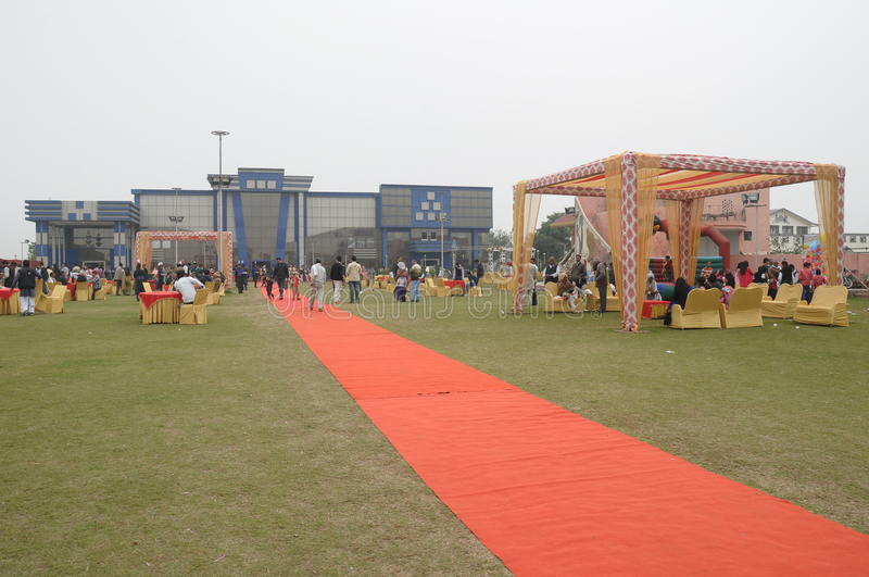 Indian Marriage Hall. A red carpet way to an Indian Marriage Ceremony Hall (Outdoor settings stock photos