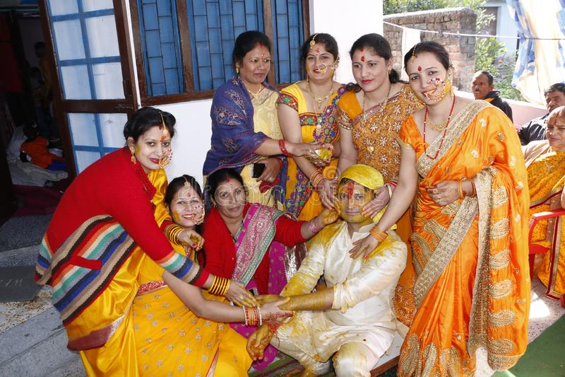 Indian Marriage Tradition Haldhi Snan stock photos