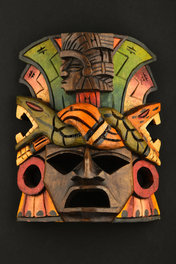 Free Indian Mayan Aztec Wooden Carved Painted Mask On Black Royalty Free Stock Photo - 56105415