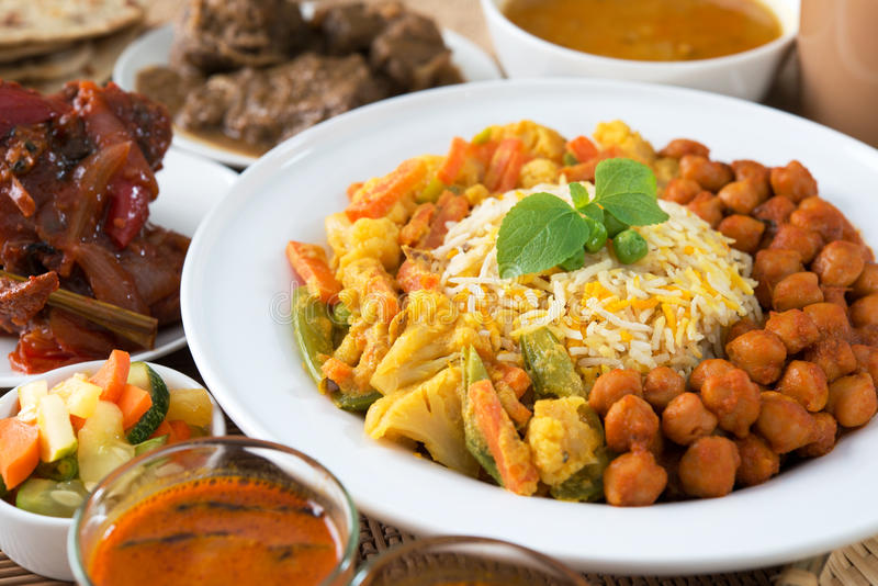 Indian meal. Biryani rice and curry stock photography