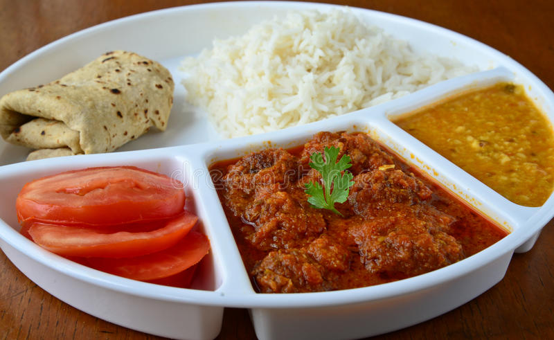 Indian meal. Consisting of Roti,rice,dal and vegetable kofta stock photography