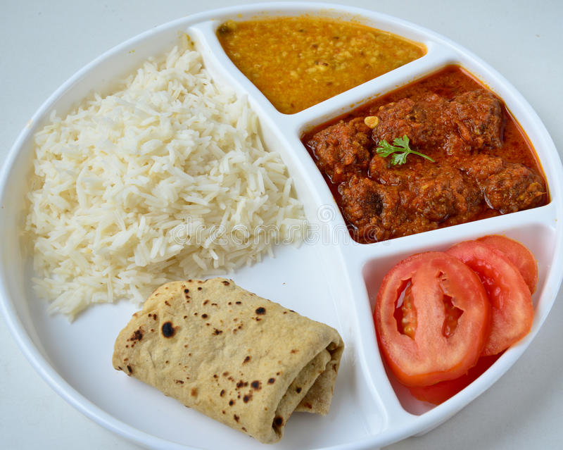 Indian meal. Consisting of Roti, rice, dal and vegetable kofta stock photo