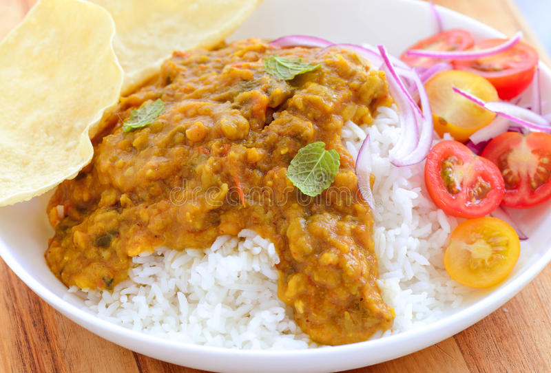 Indian meal- Dal chawal. Indian meal consisting of Rice and dallentil stock photos