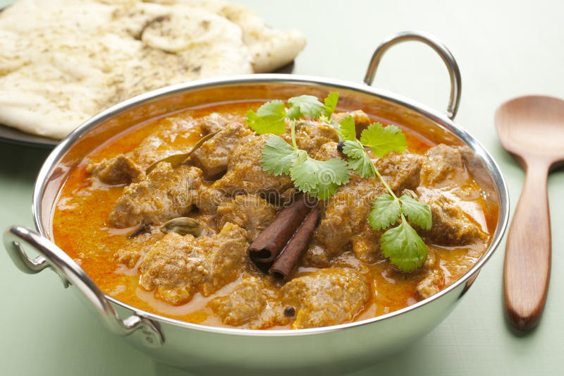 Download Indian Meal Food Curry Lamb Rogan Josh Naan Bread Stock Photo - Image: 25087110